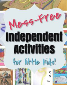 These are great independent activities for toddlers and preschoolers and they are MESS FREE! Love how engaging they are for quiet time for the kids and that I don't need to clean up after too. Nice and simple! Activities For 6 Year Olds, Educational Activities For Preschoolers, Preschool Arts And Crafts, Quiet Time Activities, Creative Activities For Kids, Preschool Activities, Preschool Alphabet, Number Activities, Alphabet Activities