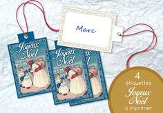 Etiquette Bleue Joyeux Noël Prêt à Imprimer par LesNuitsdEncre