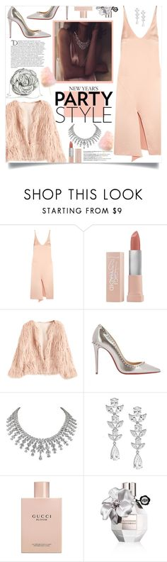 """How to wear a Satin Midi Dress!"" by disco-mermaid ❤ liked on Polyvore featuring TIBI, Maybelline, Christian Louboutin, Saks Fifth Avenue, Gucci, Viktor & Rolf, Balmain and Judith Leiber"