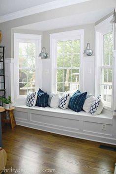 DIY kitchen renovation update (nine months later) Create a window seat in bay window, would be nice to read there!Create a window seat in bay window, would be nice to read there! Home Renovation, Home Remodeling, Kitchen Remodeling, Bay Window Benches, Bay Window Seating, Bay Window Cushions, Bench Seat Cushions, Window Seats Diy, Window Seat Curtains