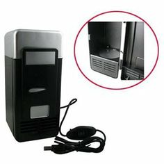Black PC Fridge Beverage Mini USB Drink Cans Cooler & Warmer 1 of 2