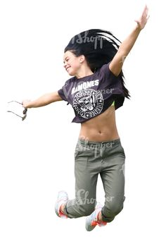 78a4296eb73 A smiling young woman jumping Cut Out People
