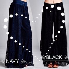 "EXQUISITE LACE PALAZZO PANTS! BEAUTIFUL! These absolutely stunning lace palazzos are amazingly pretty. Flowing, full design, this floral  pattern is lined with 2.5"" elastic waist and drawstring. Flattering on a variety of sizes.               One size fits S-XXL. BLACK OR NAVY.                                                          ♦️waist 30-39""  ♦️high hip 42-50""                                                     ♦️seat 58-65""  ♦️inseam 29""  ♦️rise 14""                Polyester/spandex…"