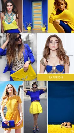 yellow and blue colors - Bing Εικόνες Colour Combinations Fashion, Color Combinations For Clothes, Color Blocking Outfits, Fashion Colours, Yellow Fashion, Colorful Fashion, Royal Blue Color, Blue Colors, Merian