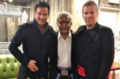 "The Toronto Star. ""A peace of tartan, with love"". By Scottish interior decorators and television presenters Colin and Justin. Photo with Arun Gandhi at the From Scotland With Love fashion show in New York City: Lewis Patrick/Toronto Star."