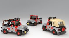 Three Jeep models from the Lego Jurassic World game - soft-top, rollbars and standard. Lego Jurassic Park, Jurassic Park World, Legos, Lego Police Car, Lego Truck, Amazing Lego Creations, Jeep Models, Lego City, Jurassic Park