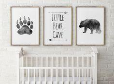 Baby boy Nursery Decor - Bear Cave - Grey, Little Bear,Bear nursery, Nursery Quote Set of Three Prints Nursery Art, gift for baby by Thebrightsidebygina on Etsy