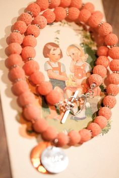 Orange sponge bead Necklace