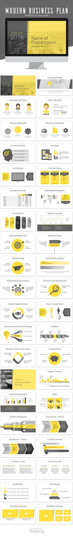 Modern business plan PowerPoint template with 40 pre-designed slides. This template is perfect for annual reports business plan financial statements etc. Your audience will appreciate the consistent look and feel a key factor to successful presentations! Financial Planning, Business Planning, Business Tips, Online Business, Business Proposal, Event Proposal, Plan Marketing, Business Marketing, Design Presentation