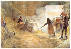 Threshing -  Artist: Carl Larsson Completion Date: 1906 Place of Creation: Sweden Style: Art Nouveau (Modern) Genre: genre painting
