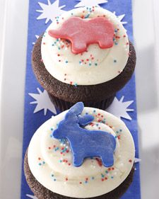 Chocolate and Vanilla Election Day Cupcakes - Martha Stewart Recipes
