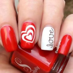 9 Red Hot Nails Just In Time For Valentine's Day - Hashtag Nail Art #PedicureIdeas