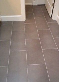 Subway Tile Floor Design for basement bathroom, Pictures, Remodel, Decor and Ideas - page 3 Kitchen Floor Tile Patterns, Bathroom Flooring Options, Vinyl Flooring Bathroom, Bathroom Vinyl, Grey Floor Tiles, Bathroom Tile Designs, Bathroom Floor Tiles, Bathroom Layout, Basement Bathroom