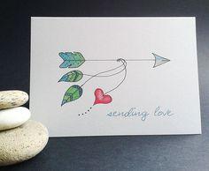 Arrow Feather Greeting Card/art card/note by DeborahDeyDesigns Watercolour Illustration, Pen And Watercolor, Valentines Watercolor, Wedding Shower Cards, Arrow Feather, Watercolor Beginner, Envelope Art, Bday Cards, Heart Cards