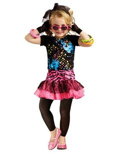 80S Pop Party Child 4-6 Kids Girls Costume