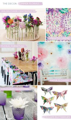 Summer wedding inspiration, the decor, florals, wild flowers, floral linens, floral furniture, coloured glassware, origami, butterflies. Created by Pocketful of Dreams