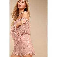 8f5300b88c20 Kennedy Mauve Pink Lace Off-the-Shoulder Romper ( 92) ❤ liked on Polyvore  featuring jumpsuits