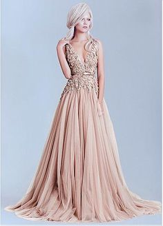 Charming Tulle & Lace V-Neck A-Line Evening Dresses With Lace Appliques