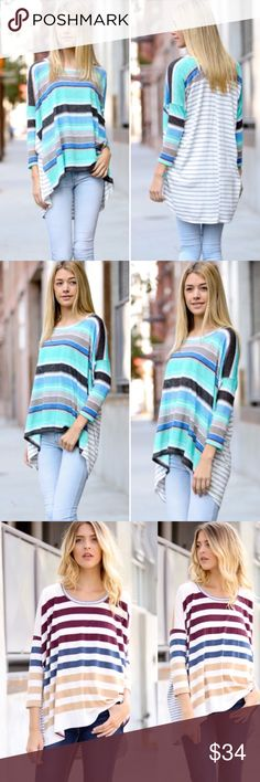 ❣SHIPS FRI❣ Turquoise Stripe Color Block Tunic Top Beautiful multicolor striped top! Brand new! S M L. Runs true to women's sizing. this listing is for the main color only, other colors are available in my other listings Tops Blouses