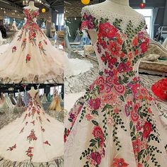 luxury lace flower gown - Lolas Couture Collection Mexican Fancy Dress, Mexican Dresses, Mexican Wedding Dresses, Gala Dresses, 15 Dresses, Mexican Quinceanera Dresses, Evening Dresses With Sleeves, Dream Wedding Dresses, Beautiful Gowns