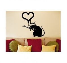 Chikabuzz - Women, Relationships and Modern Life Banksy Wall Art, Love Wall, Wall Decals, Cute Animals, Rat, Modern, Home Decor, Pretty Animals, Trendy Tree