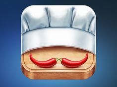 This is what I would call a cute design. It does, though, take three symbols of cooking, a cutting board, chef hat, and chili peppers in the shape of a mustache.