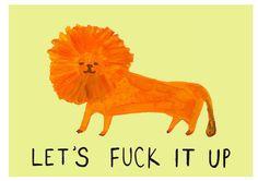 Fit up naughty rude swear lion folk art style por oohmygee en Etsy