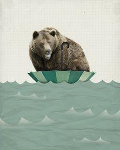 Bear in Umbrella Surviving the Flood 8x10 Art Print by LuciusArt, $18.00