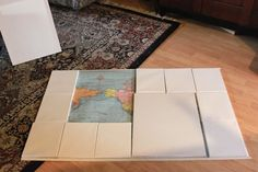 large map wall decor. would be awesome in a guest bedroom and guests pin where they're from