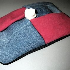 Etui à mouchoirs en papier en jeans used et coton rose - pochette kleenex - pliage origami - 100% recyclage