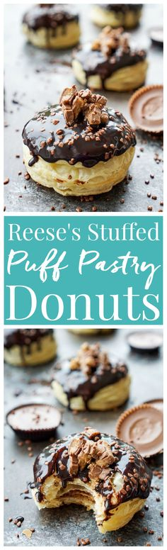 These Reese's Stuffed Puff Pastry Donuts are rich, decadent, and easy to make! Just 6 ingredients stand between you and chocolate/peanut butter bliss! Donut Recipes, Peanut Butter Recipes, Best Dessert Recipes, Easy Desserts, Sweet Recipes, Dessert Ideas, Creative Desserts, Baking Recipes, Delicious Donuts