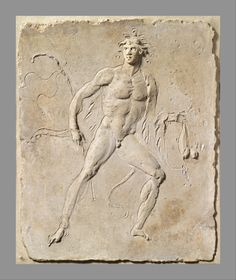 Stucco relief panel. Period: Early Imperial. Date: 2nd half of 1st century A.D. Culture: Roman. The powerfully-built nude youth stepping to the right may be a follower of Dionysos, for he wears an animal skin over his left shoulder. He carries a pedum (shepherd's crook) in his right hand and a hare is suspended from his left.