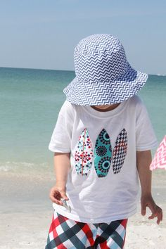 Handmade Frenzy: Handmade Summer Series Part 6: Appliqued Beach Cover-Ups (FREE templates!) cute beach clothes to make for the kiddos- shirts and hats
