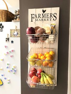 Farmers Market Rustic Produce Wall Hang Kitchen Fruit and Vegetable Produce Storage, Kitchen Organization Rustic Kitchen Decor, Country Kitchen, New Kitchen, Farmhouse Decor, Kitchen Ideas, Decorating Kitchen, Colonial Kitchen, Pantry Ideas, Awesome Kitchen