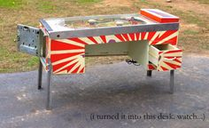 Old Pinball Machine Repurposed As A Desk