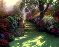 Pathway to Paradise. Painted by Thomas Kinkade. http://www.thomaskinkade.com/magi/servlet/com.asucon.ebiz.catalog.web.tk.CatalogServlet?catalogAction=Product&productId=202051&menuNdx=0