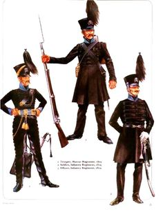 The army of Brunswick-1. soldier, Regiment of Hussars, 1801 2. soldier, infantry regiment 1809 3. officer, infantry regiment 1809.