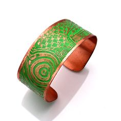 Copper Cuff Etched Bracelet with Jade Patina by RoseMarysGlassArt, $30.00