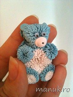 quilling blue bear