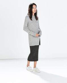 Image 1 of TWEED SWEATER WITH SLIT from Zara