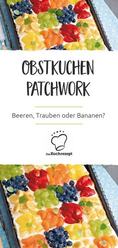 Patchwork fruit cake - Berries, grapes or bananas? – Everyone& favorite piece is on this colorful sheet cake with - Crockpot Recipes, Keto Recipes, Snack Recipes, Dessert Recipes, Cooking Recipes, Desserts, Frosting Recipes, Easy Smoothie Recipes, Healthy Smoothies