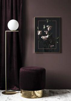 Flowers In Frame Plakat Modern Art Prints, Dark Wood, Scandinavian Design, Order Prints, Frame, Ottoman, Wall Art, Flowers, Furniture