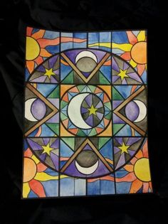 Sun and Moon Stained Glass Art