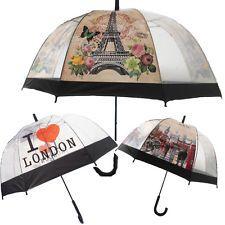 Transparent Clear Dome Shape Umbrella Printed Rain Brolly Ladies Gents London