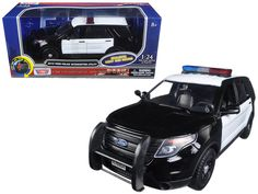 2015 Ford Police Interceptor Utility Black and White with Flashing Light Bar, Front and Rear Lights and 2 Sounds 1/24 Diecast Model Car by Motormax - Brand new 1:24 scale diecast model car of 2015 Ford Police Interceptor Utility Black and White with Flashing Light Bar, Front and Rear Lights and 2 Sounds die cast car model by Motormax. Has two sounds. When pressing the button once you hear one sound, when pressing it again you can hear another sound. Brand new box. Rubber tires. Has opening…