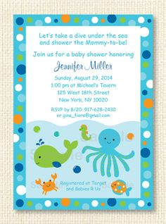 Sea blue baby shower invitations ocean invitations personalized sea blue baby shower invitations ocean invitations personalized invitations 1950 via etsy pams shower pinterest shower invitations ocean and filmwisefo