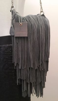 Signed Monserat De Lucca Ladies Real Leather Suede Fringe Dangle Grey Purse #MonseratDeLucca #ShoulderBag