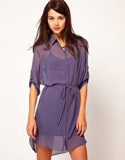 Warehouse Bias Cut Shirt Dress