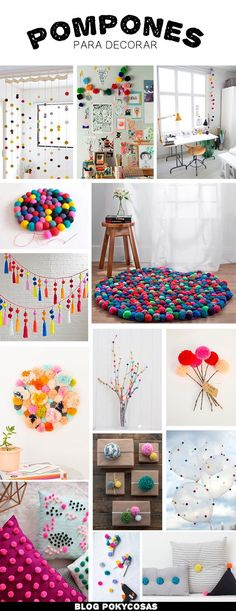 Decorating with Pompoms / Pompones para decorar / DIY home decor ideas Home Crafts, Diy And Crafts, Crafts For Kids, Fall Crafts, Holiday Crafts, Diy Y Manualidades, Diy Casa, Art Diy, Pom Pom Crafts