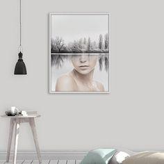 Minimalist Landscape Print, Face Print, Scandinavian Wall Art, Nordic Printable, Modern Abstract Decor, Photo Manipulation, Digital Download